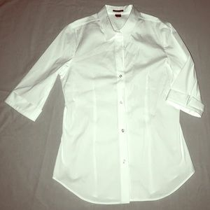 theory white shirt 3/4 sleeves